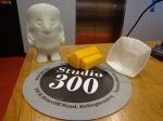 Adipose, house, and a leaf textured cup created on Studio 300's 3D printer.