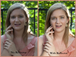 reflector with and without