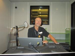 Joe getting ready to record.